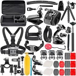 Kit de acessórios 52 em 1  para câmaras acção com mala