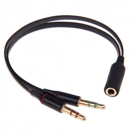 Cabo Jack 3.5mm (fêmea) + 2x Jack 3.5 mm (macho) Mic + Audio