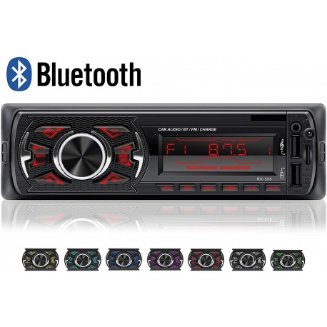 Auto Rádio RK-538 Bluetooth USB SD AUX MP3 | 7 cores
