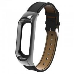 Bracelete para Xiaomi Mi Band 3 em Pele Preta