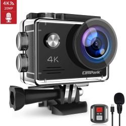 Câmara Ação Campark X5 4K 20MP com Microfone Externo e 2 baterias