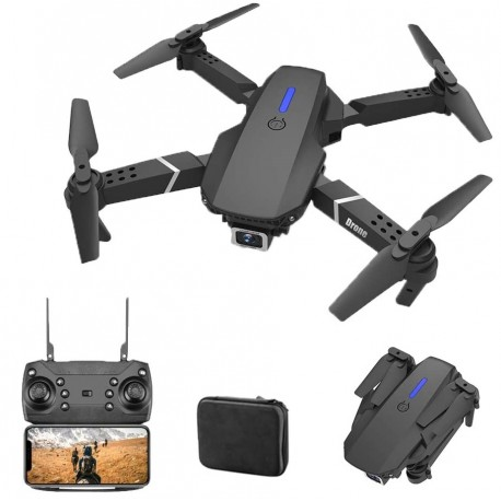 Drone E88 FPV WiFi Full HD 1080P com 2 baterias e mala de transporte